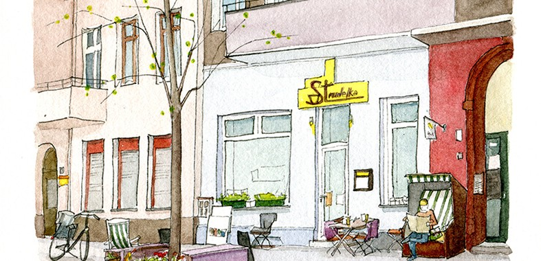 Contini-Frank: Strudelka, Aquarell und Tusche auf Aquarellpapier, 14,5 x 10,5 cm